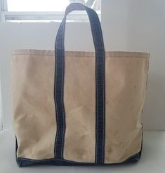 ff7134e796 Vintage LL Bean Boat and Tote Bag XL Jumbo Navy Blue Canvas Open Top 22