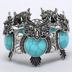 Fashion Chunky Turquoise Owl Stretch Bracelet