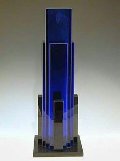 Fontana Arte Designer: Sottsass Blue glass vase Italy, 1981