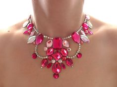 Pink Floating Illusion Necklace, Bright Pink Statement Necklace, Pink and Crystal AB Rhinestone Bib Necklace, Pink Illusion Necklace
