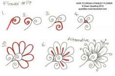 How to draw Paisley Flower 17 by *Quaddles-Roost on deviantART and more doodle ideas Doodles Zentangles, Tangle Doodle, Zentangle Drawings, Doodle Drawings, Doodle Art, Doodle Patterns, Zentangle Patterns, Flower Patterns, Zantangle Art