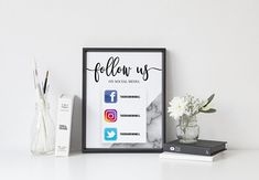 Follow Us On Social Media, Business Sign, Social Media Sign With Icons, Office Sign, Call To Action Sign, Marketing Sign, BUSINESS TEMPLATE Instagram Sign, Follow Me On Instagram, Real Estate Signs, Pet Resort, Business Signs, Business Ideas, Hair Stores, Vendor Events, Office Signs