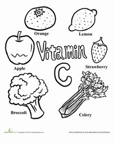 Color the Vitamin C Rich Foods Worksheet