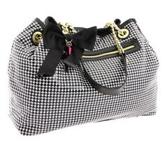 Black bow, black and white checkered Betsey Johnson tote.