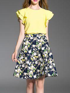 #AdoreWe #StyleWe MINGYSYI Yellow Polyester Frill Sleeve Crew Neck Two Piece Midi Dress - AdoreWe.com