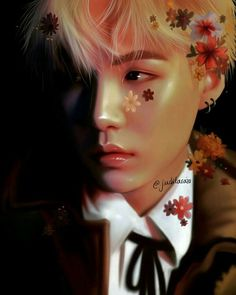This fan art tho of Yoongi! It's so beautiful I almost thought it was real before clicking on it❤❤The artist did a great job! Namjoon, Seokjin, Taehyung, Jimin, Min Yoongi Bts, Min Suga, Yoonmin, Foto Bts, Les Bts
