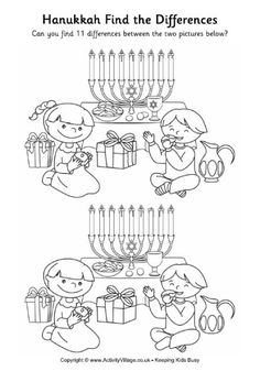 Hanukkah - find the differences And other puzzles! Hanukkah For Kids, Hanukkah Crafts, Hannukah, Happy Hanukkah, Holiday Crafts, Super Coloring Pages, Kids Coloring, Crafts For Kids, Arts And Crafts