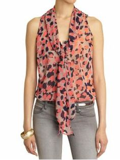 Sleeveless secretary blouse - love the pink and navy take on pseudo leopard print