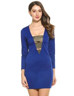 Black New Women Sexy V-Neck Long Sleeve Shimmer Elastic Band Patchwork Hollow Out Slim Dress