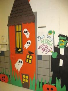 red ribbon door decorating ideas (this could be a cute idea for Halloween) Halloween Classroom Decorations, School Door Decorations, Class Decoration, Halloween Themes, Halloween Crafts, Red Ribbon Week, Teacher Doors, Manualidades Halloween, School Doors