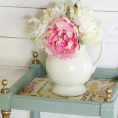 French Fabric Decoupage Tutorial (full how-to! Pink Furniture, Decoupage Furniture, Chalk Paint Furniture, Repurposed Furniture, Furniture Design, Duck Egg Blue Chalk Paint, Annie Sloan Chalk Paint, Coffee Table Makeover, Desk Makeover