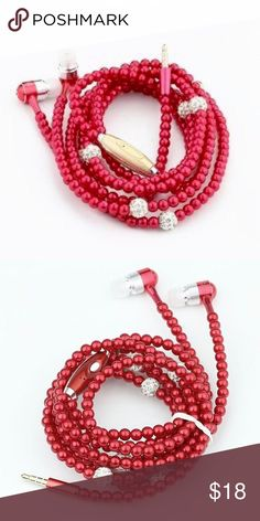 Red fashionable pearl earphones Fashion Pearl Necklace 3.5 mm Stereo Earphone Headset For iPhone Samsung PC MP3    Use: Mobile Phone Style: In-Ear Connectors: 3.5 mm Function:Supports music Communication: Wired Model Number: Headphones Color:Pink,Black,Silver,Color Blue,Hyun Black Package Includes:1*Earphone  Suitable Model : For iPhone,Samsung galaxy,LG,HTC,Sony,xiaomi,huawei Android Phone,MP3,MP4,Laptops Accessories Phone Cases