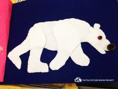 Say hi  to this polar bear made out of felt. He's a proud part of our hand-crafted tactile animal book.