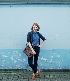Zara Silk Polka Dot Shirt, Topshop High Waisted Joni Jeans, E Bay Tan Brogues, Cambridge Satchel Company Satchel, Zara Grey Cardigan