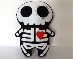 Skeleton Plush Sugar Skull Doll on Etsy, $24.00