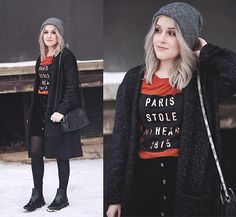 Get this look: http://lb.nu/look/8073802  More looks by Sarianna V: http://lb.nu/sarianna  Items in this look:  Gina Tricot Black/Grey Cardigan, Gina Tricot Orange T Shirt, Even&Odd Black Bag, Kapp Ahl Black Skirt, Dr. Martens Black Boots   #casual #chic #street