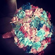 Buquê em Mini Rosas - Rosa e Azul