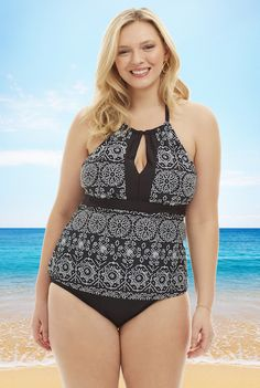 3511e59875d 24th   Ocean Plus Size Key Hole High Neck Tankini Top in Black   White