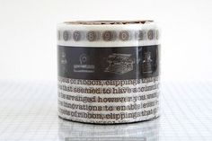 Typewriter+Numbers+Washi+japanese+Tape+-+DARK+BROWN $8.25