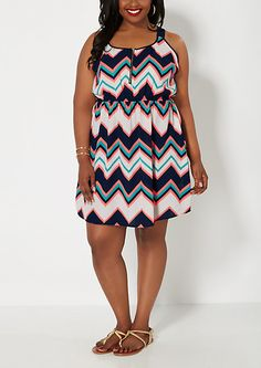 Plus Chevron Zip Yoke Dress | rue21