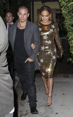 Jennifer Lopez wearing Dolce & Gabbana Sequined Star Dress Gucci Spring 2012 Double Ankle Strap T Sandal Out for dinner with boyfriend Caspe...