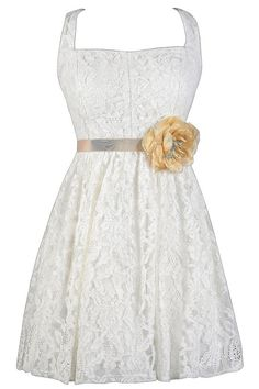 Captivating Corsage Lace Dress in Ivory