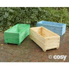 THREE COLOURED PLANTERS  Add a splash of colour in those winter months with these wonderful coloured planters. Use them for growing plants or vegetables and encourage children to get their fingers mucky