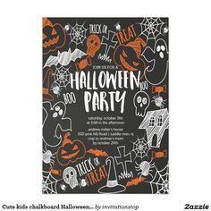 Cute kids chalkboard Halloween Party Card