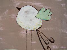 White, Brown, Pink, Green, Bird Painting-12x12