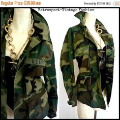 HOLIDAY SALE 80's 90's Vintage Camouflage army green mens fatigue hipster grunge dress jacket coat blazer m L by ShopRVF on Etsy
