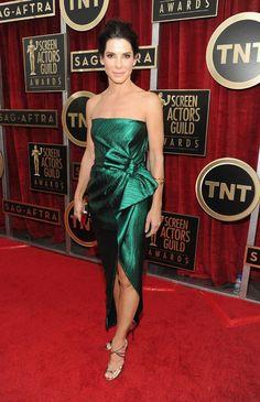 SAG Awards Red Carpet Best-Dressed Celebrities 2014: Sandra Bullock looked regal in a gleaming emerald green Lanvin dress.
