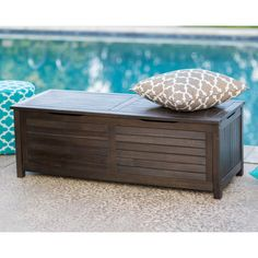 Coral Coast Barclay Outdoor Wood 50-Gallon Storage Deck Box - Dark Brown
