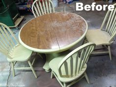 Looking for a way to freshen up that old table? Check out this awesome faux planked table transformation! Painting Laminate Table, Laminate Furniture, Furniture Upholstery, Painted Furniture, Diy Coffee Table, Diy Table, Table And Chairs, Dining Chairs, Plank Table