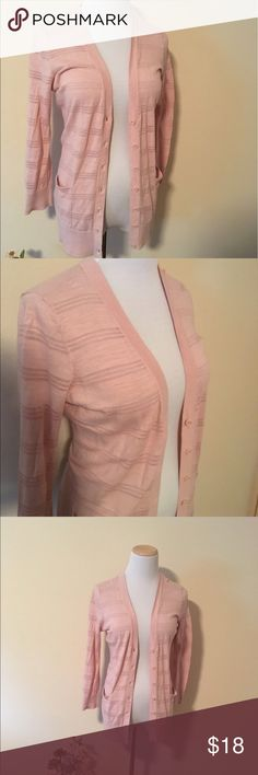Longsleeve Pink Cardigan from Loft Sz M Very cute Striped pink cardigan from Loft! Lightweight and perfect for the office or a casual day. Great for summer! LOFT Sweaters Cardigans