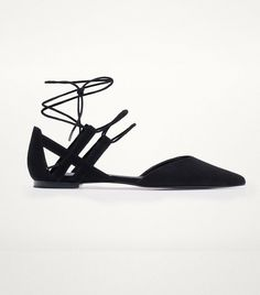 Massimo Dutti Black Lace-up Ballerinas