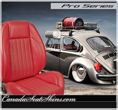 Volkswagen Bug Pro Series Red Seat Package - canadaseatskins.com #leather #restomod