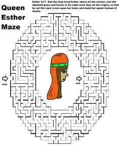 Printable Queen Esther Maze   Just print this fun maze out for the kids do…