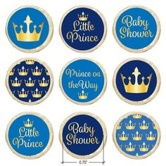 These Blue and GoldLittle PrinceBaby Shower favor stickersare the perfect final detail to add to your upcoming boy baby shower....