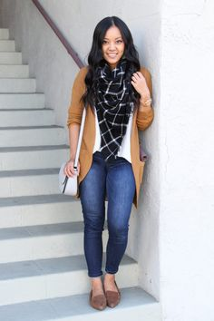 Four Classic Shoes for Fall That Have Staying Power - Loafers Outfit - Ideas of Loafers Outfit - Brown Cardigan Blanket Scarf Skinnies Loafers Brown Cardigan Outfit, Plaid Scarf Outfit, Blanket Scarf Outfit, Cardigan Outfits, Rust Cardigan, Mustard Cardigan, Scarf Cardigan, Long Cardigan, Black Loafers Outfit