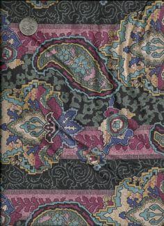 Burgandy Mauve Aqua and Green Print Cotton Fabric by debscrafts55, $8.00