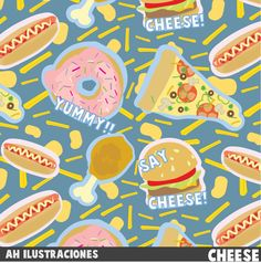Cheese pattern Art print by Ah Ilustraciones  #Pattern #Junk #Food