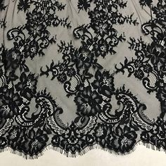 French Chantilly Fabric Black Eyelash Lace Beautiful Blossom Floral Lace Fabric By the yard Wedding Fabric, Floral Wedding, Lace Wallpaper, Nightmare Before Christmas Wedding, Lace Art, Baptism Gown, Couture Embroidery, Gothic Wedding, Chantilly Lace