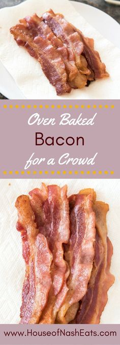 Oven baked bacon for a crowd is the key to success for a stress-free holiday breakfast, brunch with friends, or even when you need to cook up a whole package of bacon for add-ins to other dishes, salads or sandwiches. It's less hassle and mess to make bac Brunch Ideas For A Crowd, Breakfast For A Crowd, Easy Brunch Recipes, Best Breakfast, Breakfast Ideas, Breakfast Recipes, Bacon Breakfast, Wedding Breakfast, Breakfast Sandwiches