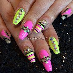 #ShareIG Natural Long Beautiful Nails... Neon Gel Mani