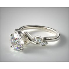 18K White Gold Twisted Vine Engagement Ring ($1,020) ❤ liked on Polyvore featuring jewelry and rings