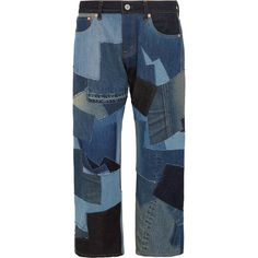 Junya Watanabe Cropped leather-trimmed patchwork boyfriend jeans (42.835 RUB) ❤ liked on Polyvore featuring jeans, blue, blue jeans, junya watanabe, boyfriend jeans, boyfriend fit jeans and leather jeans
