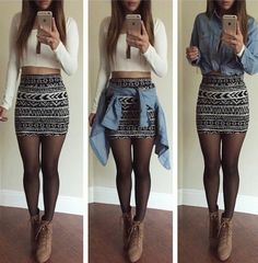 Pin by triya belani on outfits in 2019 oblečení, moda, sukně Cute Fall Outfits, Pretty Outfits, Beautiful Outfits, Summer Outfits, Fashion Mode, Skirt Fashion, Womens Fashion, Skirt Outfits, Chic Outfits