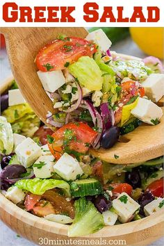 Crunchy and fresh Greek salad made with lots of veggies creamy feta cheese and the most refreshing homemade Greek salad dressing. Best Greek Salad, Greek Salad Recipes, Salad Dressing Recipes, Easy Salads, Healthy Salad Recipes, Lunch Recipes, Healthy Foods, Diet Recipes, Traditional Greek Salad