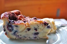 Blueberry Bread Pudding - Love that crunchy topping! If you use anything other than Maine Wild Blueberries you may need to add more sugar.: