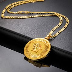 """Men's Hip-Hop 18K Gold Plated Figaro Lion Head Chain Necklace 18-26"""" $23.99 CAD"""